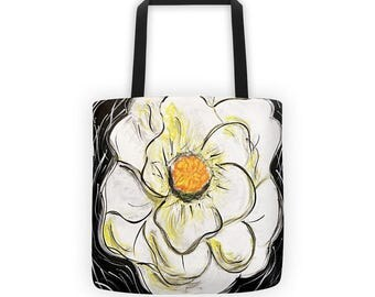 Flower Tote, Flower Bag, Canvas Tote Bag