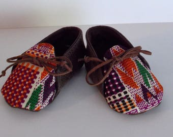 Brown Faux Leather and Orange Burgundy & Black African Kente Print Baby Booties