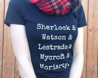 Sherlock Shirt | Guys of Sherlock Characters TShirt FREE SHIPPING | Sherlock Holmes Watson Moriarty Mycroft Book Inspirational Quote Fandom