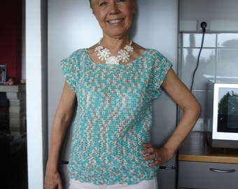 Crochet top in turquoise blended cotton-size S/M