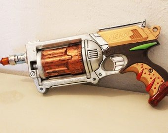 steampunk gun, stylized styeampunk nerf gun