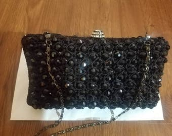 Black beaded crochet party bridesmaid handmade vintage