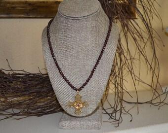 Vintage Necklace, Garnet Antique Necklace, Garnet Beads, Gold Cross Necklace, Vintage Jewelry,