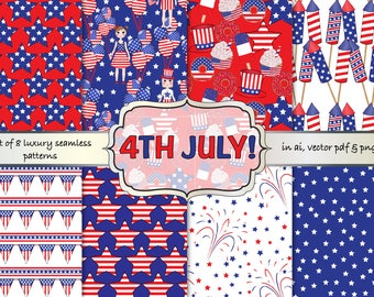 4th July digital paper, 4th July seamless pattern, 4th July scrapbook paper, Independence day digital papers, patriotic digital paper