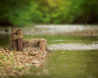 Set of 2 Dock by the creek with fishing net with and without light leak digital backdrop/digital background /overlay