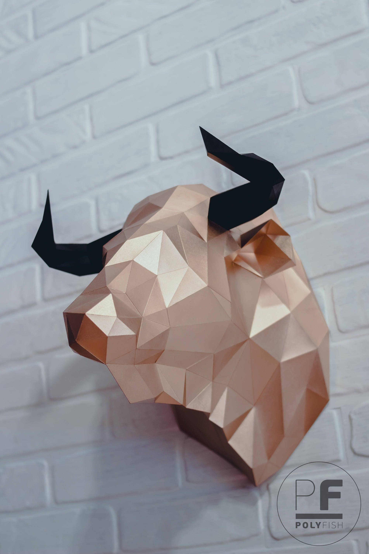 Bull Head (bull, paper bull, origami bull, wall hanging ... - photo#46