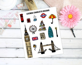 London, England, UK GB  - Planner Stickers