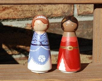 Sofia and Elena peg dolls