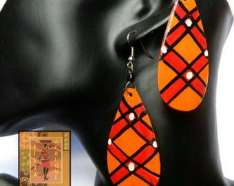 Orange, red, black and white painted earrings