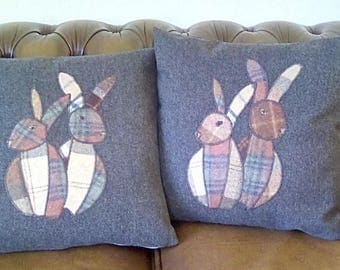 Appliqued rabbit cushions