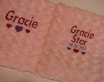 Personalised baby blanket with name and date