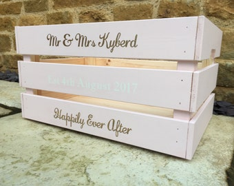 Personalised blush pink wooden wedding crate with white and gold text