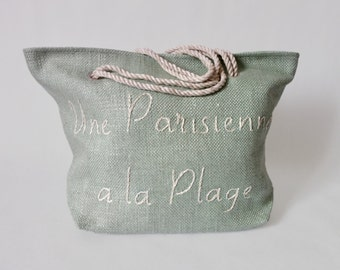 "Bag, shopping bag of beach / water green flax / embroidered ""A Parisian to the beach"" /Anses in cord natural/fact hand/made in Paris / gifts for her"