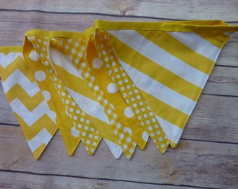 Yellow Banner, Birthday Party Decoration, Bunting, Fabric Banner, Flags, Photography Prop, Garland , Chevron, Dots