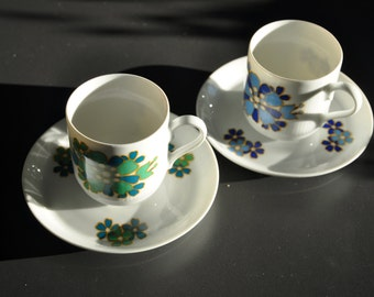 Vintage coffee cups and saucer Rheinpfalz Hartporzellan 70s