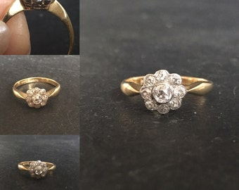 RESERVED for Tomoni**Edwardian 18ct gold diamond cluster ring