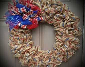 Patriotic Charm Burlap Wreath