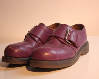 Made in England Dr. Martens purple buckle 90s Steeltoe shoes size 5