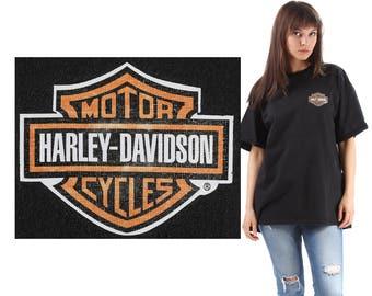 HARLEY DAVIDSON T Shirt 80s Vintage Tee Harley Logo Eagle Printed Long TShirt Black Grey Orange Summer Festival Urban Hipster XXL