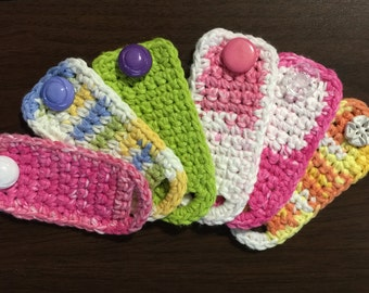 Hand crocheted cord keepers