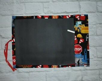 Chalkboard drawing mats, chalk mats, travel chalk mats, construction zone
