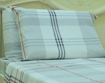 Goza Cotton 190 Gram Heavyweight Flannel Sheet Set Queen - White Plaid