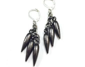 Steampunk Dangle Gunmetal Earrings, Spike Rocker Earrings