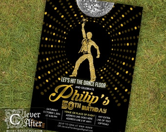 Disco Invitation 70s disco dance night party invite gold and black seventies ball birthday 1970s fever throwback 50th 60th 70th men printed