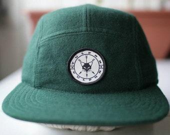 Green tweed 5 panel hat by Vulpon
