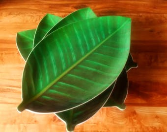 Set of 4, Leaf Serving Trays