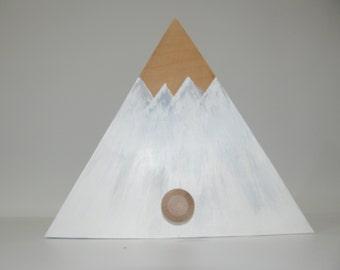 Hook decorative wooden, set of three (3) mountain