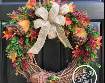 Fall Wreath, Autumn Wreath, Door Wreath, Boxwood Wreath, Burlap Wreath, Grapevine Wreath, Wreath Street Floral