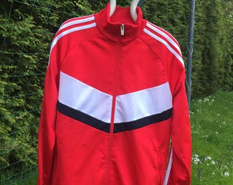Get Sporty 1980s Vintage German Adidas Athletic Jacket Zip Up Coat Youth XL 15 16 EU 176 Red White Black
