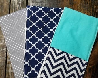 Navy, Grey, and Teal baby Burp Cloths Set of 3