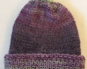 Purple and green knit hat