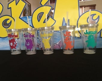 Personalized Plastic Tumbler Cup with Lid & Straw Party Favors, Pokemon Favors, Pokemon Party