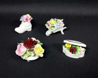 Royal Adderley Floral, Bone China, Made in England, 4 pieces