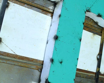 """Industrial Metal Letter T, 20"""" Recycled, Block Letter T Sign, 2-Tone Red & Teal, white sides"""