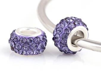 Charm Central Rhinestone Spacer Charms for Charm Bracelets - Fits Pandora Bracelets