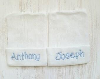 Twin boy hospital hats- baby boy hats, newborn beanies, baby boys, newborn boys, twin boys, twin hospital hats, twin hat set