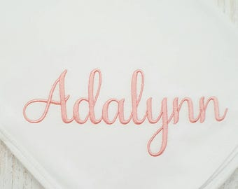 Personalized baby girl blanket- baby girl receiving blanket, baby girl blanket, baby gift, monogrammed baby blanket, peach baby, 30x40 in.