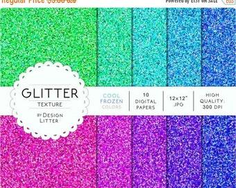 "80% Until New Year - Glitter digital paper texture: Frozen cool colors green mint blue violet sparkling background scrapbook paper · 12x12"""