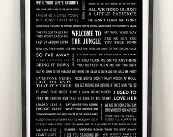 Guns N' Roses lyrics poster : Appetite & Lies - A3