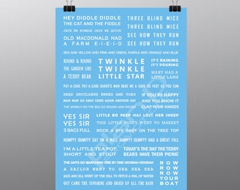 Nursery Rhymes Print for boys / newborns / babies. BLUE A3 size