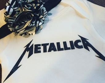 Metallica Glittery Baby Girl Onesie