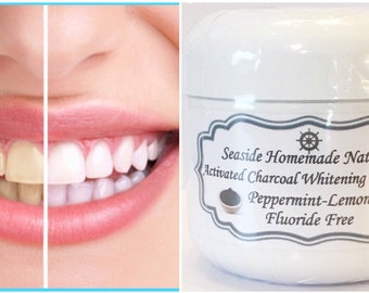 PURE ACTIVATING CHARCOAL Extra Whitening Organic Toothpaste, Peppermint, Lemon,  Organic Essential Oils, Remineralizing, Toothpaste