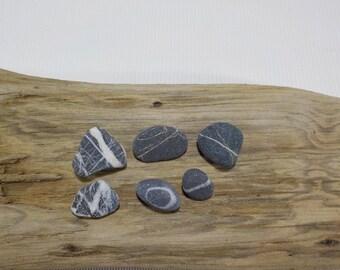 6 White Striped  Small/Tiny Beach Stones - Wishing Stones - Sea stone with a white quartz lines - Stone Pendant - Decorative Beach Finds#212