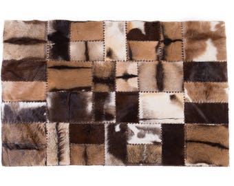 "Unique Goatskin Patchwork Area Rug Rectangle Brown Beige Gray 6'7""x4'7"""