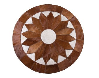 Luxury Handmade Cowhide Patchwork Area Rug Round Hair-on-Hide Brown White, 5'11""