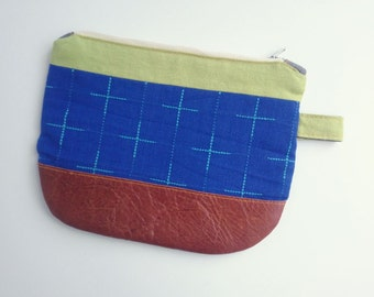 Leather + cotton pouch with metal zipper